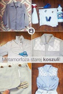 Pomysłowy sposób na zmianę wyglądu starej koszuli ^^
