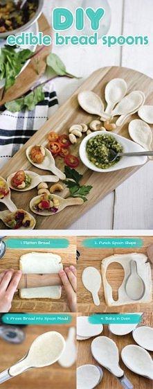 łyżki z chleba tostowego :)
