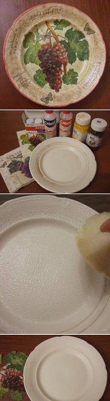 diy, old, plate, decoupage, tutorial