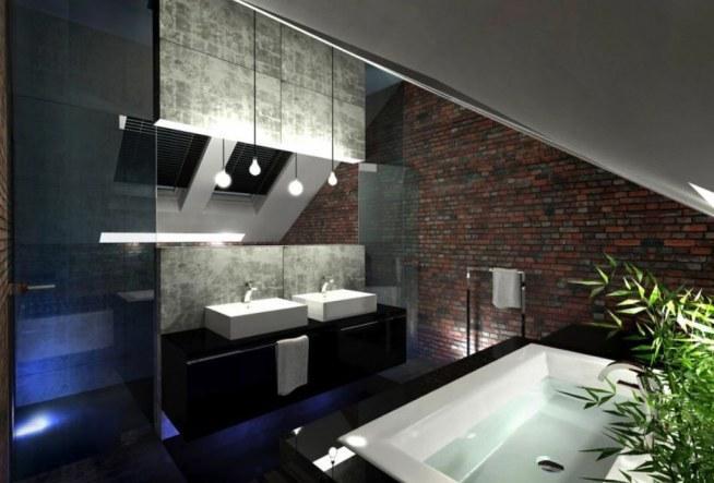 łazienka poddasze wersja nowoczesna z cegłą
