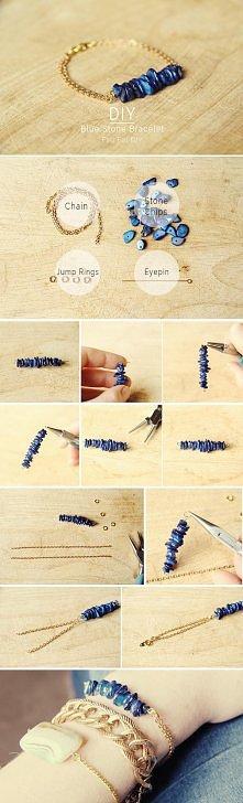 DIY Blue Stone Bracelet