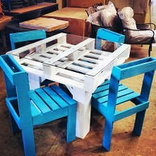 diy, dining set, recycled, pallets, tutorial