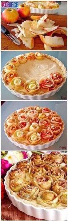 dekoracja ciasta z jabłkami :)