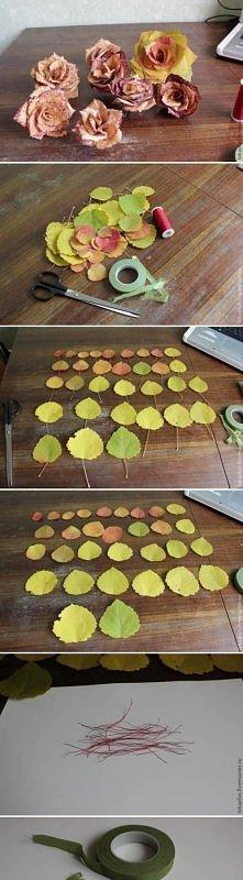 diy, autumn, leaf, rose, tutorial