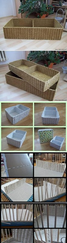 diy, newspaper, basket, com...