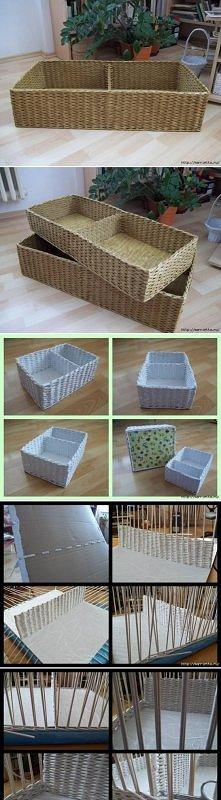 diy, newspaper, basket, compartment, handmade