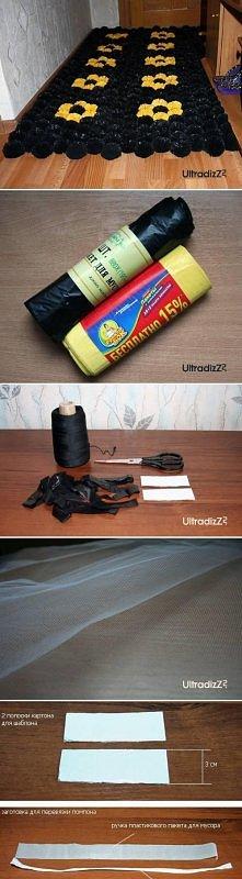 diy, plastic bag, pom pom, mat, tutorial