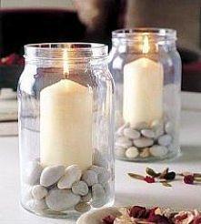 Wystarczy słoiczek ,kamyczki i świeczka i już mamy świetną dekoracje do pokoju :)