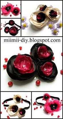 Kwiatki z satyny-rożne ozdoby diy do włosów.