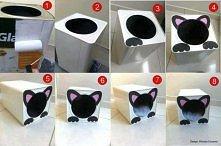 Potrzebne: Duża puszka po farbie Papier kolorowy Farba Wałek Kocyk lub poduszka Wykonanie: Zamaluj wałkiem całą puszkę po farbie i poczekaj, aż wyschnie. Wytnij łapy i uszy kotu...