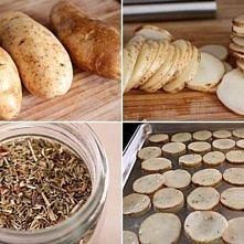 Domowe chipsy: Składniki: ziemniaki (ok. 5 sztuk) przyprawy: sól, pieprz, baz...