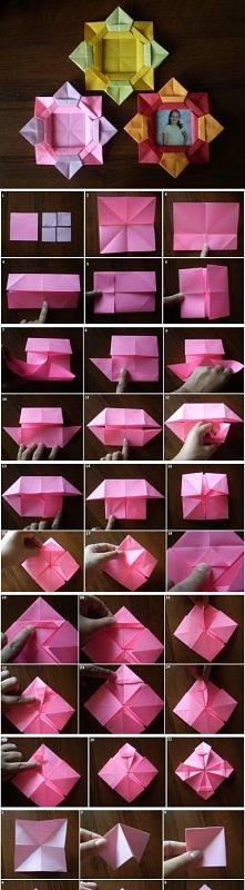 diy, origami, flower, photo, frame, tutorial