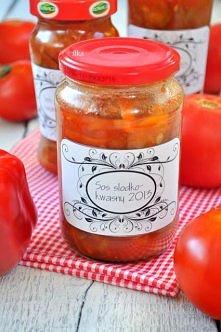 Sos słodko-kwaśny do słoików,,,3 kg pomidorów 1 kg cebuli 2 papryki (jedna cz...
