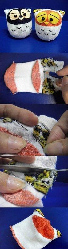 diy, sock, owl, tutorial, handmade