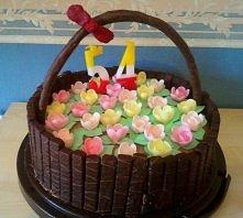 Tort dla miłośniczki kwiatów i ogrodów. Tort koszyczek!