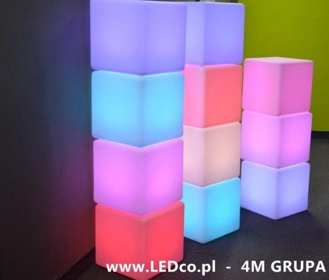 Świecące kostki LED. Zmiana kolorów i trybów świecenia na pilota. Więcej info na: LEDco.pl