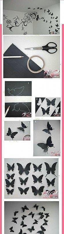 czarne motyle przyklejona na ścianę, taśmą dwustronną