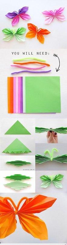 Motylki - origami. Dobry pomysł na girlandę.. ♥