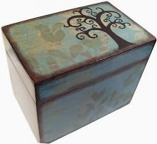 drewniany kufer decoupage