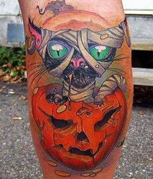 Halloween Tatuaż Z Kotem I Dynią Na Wzory Tatuaży Zszywkapl