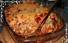 ZAPIEKANKA RYZOWA ALA KEBAB.  Składniki:   3 woreczki ryżu  majonez  ketchup ...