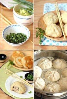 Tajwańskie bułeczki z patelni:  ciasto -  5 szklanek mąki, 1 łyżeczka drożdży...