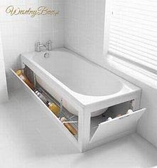 Schowek pod wanną- idealny sposób szczególnie dla małych mieszkań.