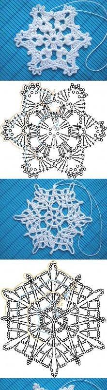 diy, crochet snowflakes, pattern, tutorial