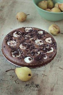 Mocno czekoladowe brownie z gruszką