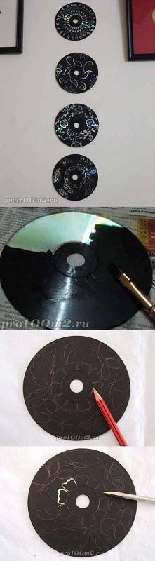 diy, wall art, decoration, cd, dvd