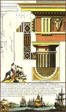 Piękne ilustracje z włoskiej książki o architekturze.