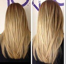 Długie włosy cieniowane.