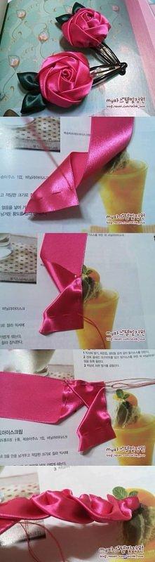 diy, rose, organza ribbon, ...