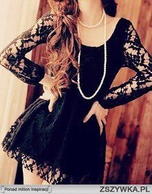 Mała czarna sukienka z koro...