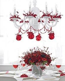 Bożonarodzeniowa dekoracja stołu. Kontrastowo. :)