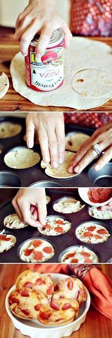 Mini Tortilla Crust Pizzas ~ cut out circle shapes, press into a muffin tin, add sauce, cheese & pepperoni. Bake until the cheese is melted & they are hot clear through.