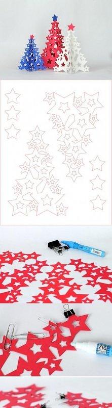 Papierowe choinki z gwiazdek