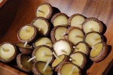 Pływające świeczki w czapeczkach od żołędzi :P