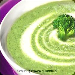 Zupa krem z brokułów:  - 1 duża cebula  - 1 duży ząbek czosnku  - 1 duży brokuł  - 1 kostka rosołowa  - 2 szklanki wody  - sól  - pieprz  - zioła (tymianek, listek laurowy) - 1 łyżka serka homogenizowanego 0-5%  - mleko 0-0,5%  Do garnka wrzucamy drobno posiekaną cebulkę i wyciśnięty czosnek, delikatnie podlewamy wodą, dusimy kilka minut do miękkości. Dolewamy wody, tak żeby przykryło brokuły, dodajemy kostkę rosołową, zioła, brokuły (rozdzielone na różyczki) i gotujemy do miękkości odparowując troszkę płynu. Wyłączamy gaz, blendujemy wszystko na gładki krem (wcześniej wyjmując z garnka wrzucony wcześniej liść laurowy). Doprawiamy solą (najlepiej dietetyczną oczywiście) i pieprzem.