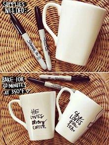 Łatwy sposób na śliczne kubki i aż miło z takimi zacząć dzień przy dobrej herbacie(: