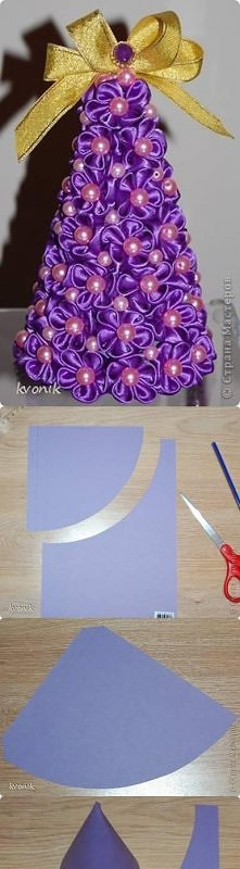 diy, ribbon tree, tutorial,...