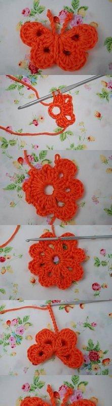 diy, crochet butterfly, butterfly ornament, tutorial