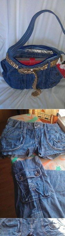 super sposób na przerobienie starych spodni w fajna torebke:)
