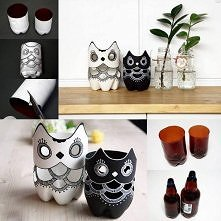 plastic bottle, owl vase, plant vase, instructions