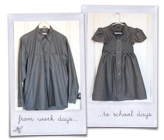 sukieneczka dla dziewczynki z męskiej koszuli
