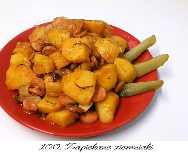 Potrzebujemy: (2 porcje) 3/4 kg ziemniaków 2 średnie cebule 5 ząbków czosnku 4 parówki 2 gałązki rozmarynu 1 łyżeczkę słodkiej papryki 1/2 łyżeczki ostrej papryki szczyptę cząbru 2 łyżki masła sól Wykonanie: Ziemniaki obieramy, myjemy, kroimy w grubą kostkę. Cebulę kroimy na ósemki, ząbki czosnku przekrawamy na pół. Parówki kroimy w plasterki. Wszystko wrzucamy do woreczka do pieczenia, solimy, dodajemy przyprawy i roztopione masło. Woreczek związujemy, wszystko dokładnie mieszamy. Woreczek wkładamy do żaroodpornego naczynia, pieczemy w piekarniku z włączonym termoobiegiem ok. 40 minut - aż ziemniaki będą miękkie. Smacznego :)