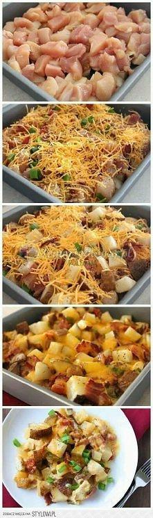 kurczak, ziemniaki, marchewka, cebula, boczek, ser - do piekarnika