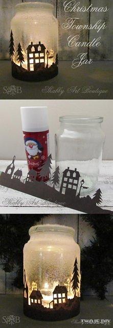 Słoik + sztuczny śnieg + papierowy wzór + świeczka;
