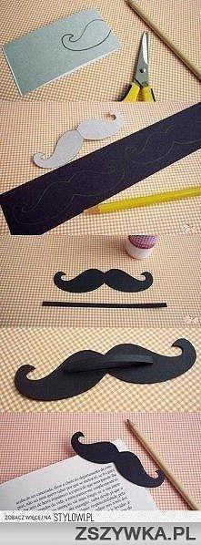 wąsy jako zakładka do książki