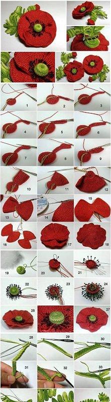 diy, crochet flower, instructions, tutorial